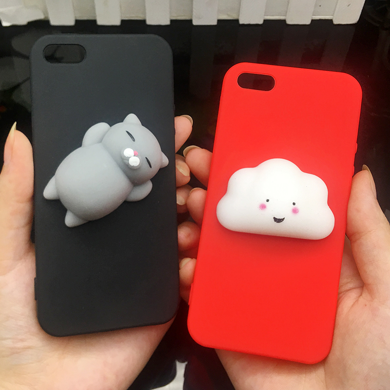 Cute 3d Squishy Cat Silicon TPU Soft Cases For iphone 5 5S SE 6 6s plus Candy Color Back Cover 5 S 7 7plus 8 8plus X phone cases (16)
