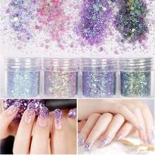 1box 10ml Mixed Nail Glitter Powder 3D Shining Ultra Purple Colorful Hexagon 1mm Sequins Nail Art Tips Decoration DIY Manicure