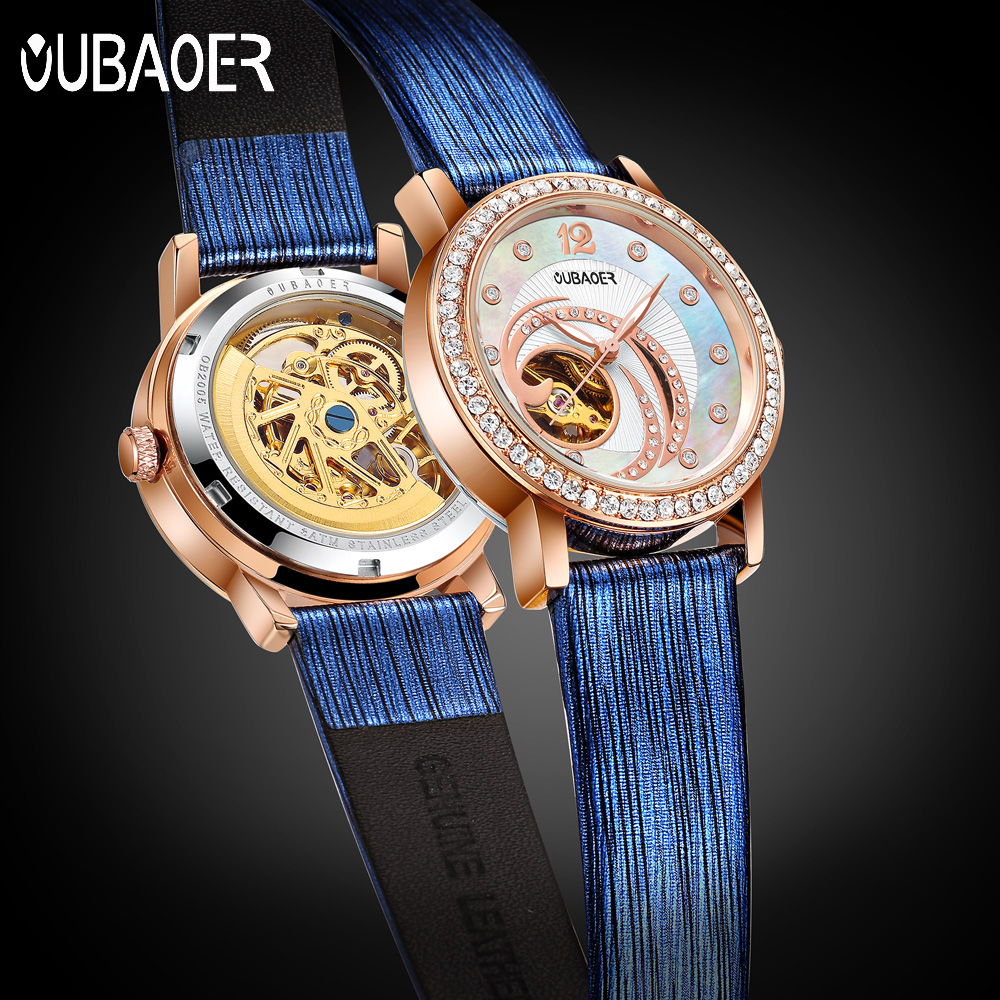 OUBAOER Blue Skeleton Automatic Watches Women Fashion Bracelet Watch Ladies Rhinestone Luxury Genuine Leather Mechanical Watch<br>