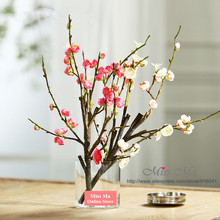 INDIGO-Corto Chino Plum Blossom Peach Flower Wedding Party Evento Fake Flor Artificial Cereza Flor Rosa Envío Gratis