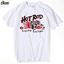 New Fashion Men Short Sleeve T Shirt HOT ROD - KUSTOM KULTURE Vintage Muscle Car Men's Short Sleeve Tees best friends t shirt(China)