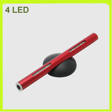 Wholesale 8 PACK 4 LED cabinet light led work light book lamp aluminum wordrobe show case kitchen 20LM 3*AAA battery red(China)