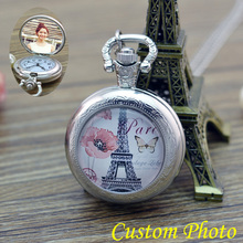 2017 New Style PARIS Eiffel Tower silver Necklace Pocket Watch Men Women Girl boy DIY personal Photo Jewelry Pocket Watches for(China)