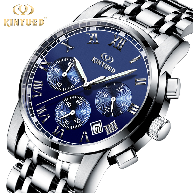 KINYUED Famous Brand Men Watch Stainless Steel Band Quartz Watches Luminous Waterproof Calendar Mens Wristwatch With Box<br>