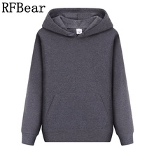 RFBear Brand new men casual Hoodies sweatshirt Solid color Print trend Fleece Cotton pullover coat warm Clothes Factory outlet(China)