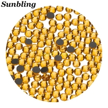 Sunbling Hot Fix Rhinestone High Quality DMC Topaz Bright Yellow SS6 10 16 20 30 Iron On Crystal For Women Clothes Decoration(China)