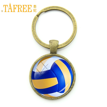 TAFREE Leisure accessories beach volleyball key chain charm ball picture print round glass alloy keychain ball fans gift KC255