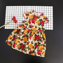 Chinese style floral girls dress summer 2017 short sleeve kids dresses for girls cheongsam girl party dress for children clothes