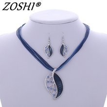 ZOSHI Fashion Jewelry Set Multilayer Leather Chain Leaves Pendant Necklaces Drop Earrings Jewelry Set Factory Wholesale Price(China)