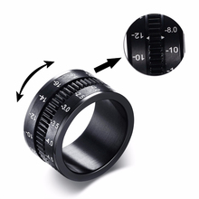Unique Mens Rings in Black Stainless Steel SLR Telephoto Camera Lens Ring Men Jewelry Spinner Bands Photographers Accessories