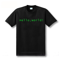 cool design print Programmer computer T-shirt hello world linux geek male short-sleeve men's shirt male basic top tee(China)