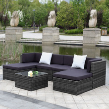 iKayaa 7PCS Cushioned Outdoor Patio Garden Furniture Sofa Set Ottoman Corner Couch Sectional Furniture Rattan Wicker FR Stock