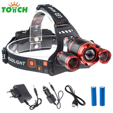 Most Powerful 10000LM Led Head Flashlight 3xT6 Zoomable Waterproof Cycling Headlamp Portable Hunting Spot Light with Car Charger(China)
