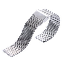 Buy Silver High Stainless Steel Mens Watch Band Web Mesh Watch Strap Men Women Watches Push Botton Hidden Bracelet for $4.28 in AliExpress store