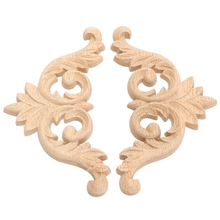 Lovely 1PC 9*9*0.8cm Wood Carved Corner Onlay Applique Unpainted Furniture Decorative Figurines Wooden Miniature