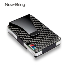 NewBring 100% Real Carbon Fiber Mini Credit Card ID Holder With RFID Anti-thief Compact Card Wallet(China)