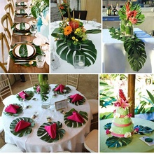 12pcs/pack Palm Leaves Monstera Wedding Table Decoration Simulation leaf For Home Garden DIY Decor Party Holiday Favors
