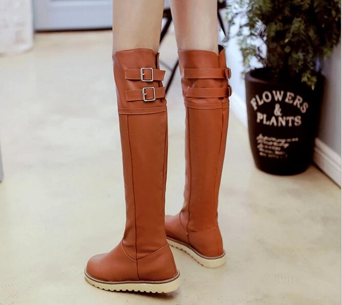 Free Shipping woman shoes large size Autumn winter  2017 Europe new fashion double breasted flat with warm  elegant boots 35-43<br><br>Aliexpress