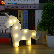 Unicorn Shaped Animal Light Table Lamp 3D White Marquee Unicorn Sign Marquee Letter Nightlight Home Decoration Battery Operated(China)