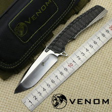 Hot Sales VENOM 2 KEVIN JOHN Knife M390 Blade Titanium Alloy+Carbon Fiber Handle Outdoor camping hunting Hunting pocket knives(China)