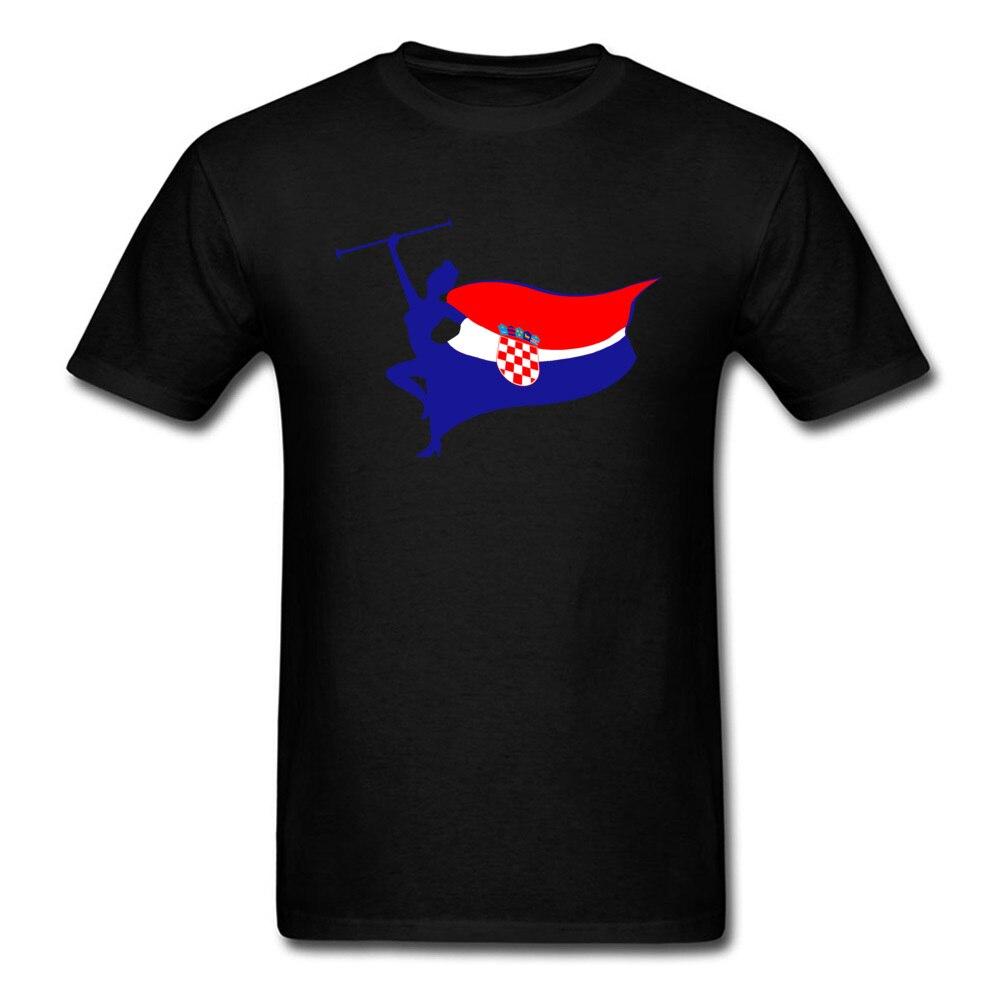 Pure Cotton Men Short Sleeve Croatia logo T Shirt Customized Tops Tees Slim Fit Geek Crew Neck Tee Shirts Top Quality Croatia logo black