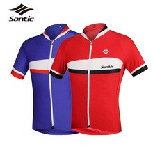 Santic Cycling Jersey Men Short Sleeve Pro Downhill MTB Bike Clothing Breathable Tour De France Jersey Red Blue Maillot Ciclismo