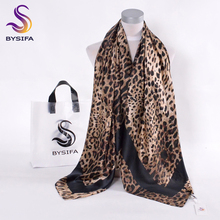 [BYSIFA]Coffee black Leopard Print Square Scarves Printed 2016 New Design Crepe Satin Silk Winter Ladies Scarves Wraps 130*130cm(China)