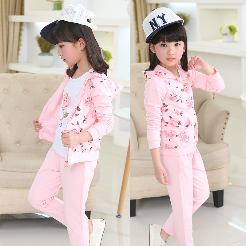 2017 spring autumn pink children leisure girls three-piece suit girl casual sweater shirt +floral coat+pants 3 pcs clothing set<br>
