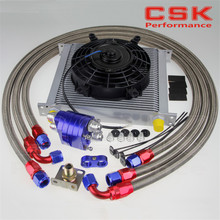 "AN10 Universal 34 Row ENGINE FILTER RELOCATION Oil Cooler+7"" Electric Fan Kit SL(China)"