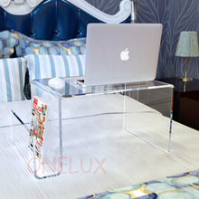 Waterall Clear Lucite Bed Tray Table ,Acrylic Laptop Stand With Additional Magazine Rack - For Bed Use Purpose