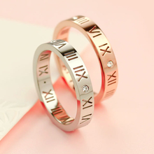 Fashion Women and Men Roman Numbers Rhinestone Hollow out Titanium Steel Ring Couple ring Unisex Ring Finger Jewelry