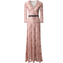 0 2017 New Women's Elegant Floral Lace 2/3 Sleeves Long Bridesmaid Maxi Dress Fashion Dress BLACK Pink Red White