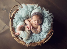 free shipping,Cute Toddler Baby Crochet pixie hat with pants baby sets Newborn Photo photography prop size:0-1m,3-4m
