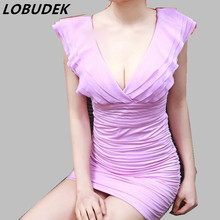 Summer short Dress fashion sexy thin Package hip one piece dress nightclub singer dancer performance show party nightclub prom(China)