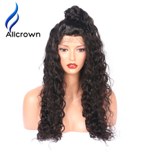Alicrown Hair Curly Silk Top Lace Front Human Hair Wigs Brazilian Remy Hair Glueless Lace Wigs with baby hair Pre Plucked(China)