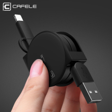 CAFELE Original 2 in 1 Retractable cable For iphone 7 samsung S7 USB Car Cable Data Sync Charger Cable for IOS 9 10 micro