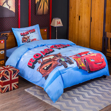 DISNEY 95 Lightning McQueen ROAD TRIP Bedding Sets Soft Kids Duvet Cover Cartoon Quilt cover Bed Set Single Queen Red Car
