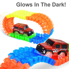 56PCS DIY Diecasts Flashing Track LED Light Up Race Cars Roller Luminous Track Glowing Electronics Rail Car For Children Xmas(China)