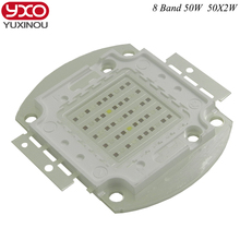 New 8 band 50w 100w 50*2w grow light led chip ,full spectrum led Red Blue UV IR White for indoor Plant Seeding Growing Flower