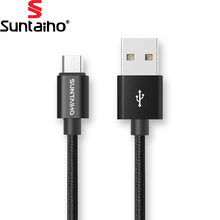 Suntaiho 1M/2M/3M Nylon Metal Micro USB Cable Fast Charger Mobile Phone 5V/2.1A Android USB Cable for Xiaomi HTC LG Samsung