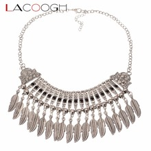 Lacoogh New Bohemian Leaves Tassel Collar Statement Necklace Vintage Boho Silver Turkish Ethnic Chunky Pendant Necklace F10209