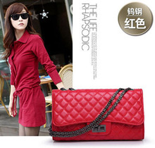 China Famous Brand Best Quality Vintage Plaid Chain Bag Women Leather Handbags 50PCS/lot(China)