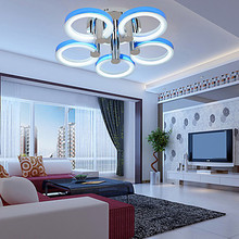 LED Integrated 90w Contemporary Acrylic Ceiling Light with 5 Lights in 5 Rings Design  size:73*73*20  Free Shipping