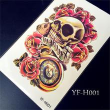 1PC Sexy Rocker Body Art Arm Tattoo Sleeve Large Skull Clock Roses Armband Tattoo Waterproof Temporary Tattoo Sticker Men Women