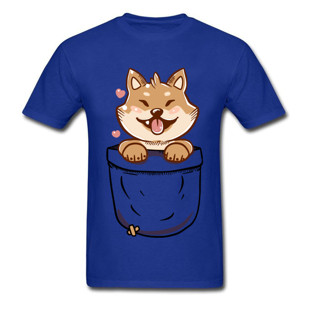 Group Discount Casual Tops T Shirt Crewneck Summer 100% Coon Short Sleeve T Shirt for Men Birthday Tee-Shirts Shiba Inu in your Pocket Tee blue