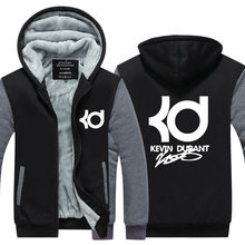 Kevin Durant Hoodies men hiphop fashion clothing casual letter KD Tops Winter Thicken Zipper Sweatshirts Plus Size