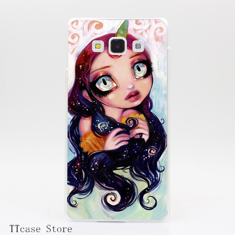 3904CA Unicorn Girl Transparent Hard Cover font b Case b font for Galaxy A3 A5 A7