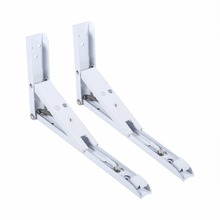 "2PCS Metal Angle Bracket 10"" Length Heavy Duty Milk White Steel Table Folding Shelf Table Shelf Bracket Supports"
