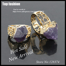 E-018  wholesale Crystal Purple raw purple Stone onyx ring, Natural Druzy Geode Quartz Ring 5PCS In Gold Bail