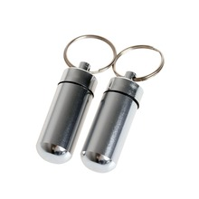 2pcs Aluminum Holder Keyring Pill Shaped Box Bottle Container Keychain Mini Medicine Boxes Waterproof Silver Small Portable